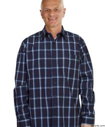 Silvert's 504000501 Mens Regular Sport Shirt with Long Sleeve, Size Small, NAVY PLAID