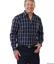 Silvert's 504000102 Mens Regular Sport Shirt with Long Sleeve, Size Medium, NAVY GREY