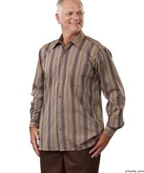 Silvert's 504000304 Mens Regular Sport Shirt with Long Sleeve, Size X-Large, BROWN STRIPE