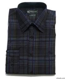 Silvert's 504000405 Mens Regular Sport Shirt with Long Sleeve, Size 2X-Large, NAVY BLACK
