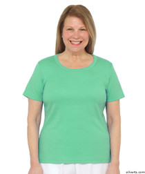 Silvert's 131500401 Womens Short Sleeve Crew Neck T Shirt, Size Small, MINT LEAF