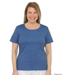 Silvert's 131500303 Womens Short Sleeve Crew Neck T Shirt, Size Large, MIDNIGHT BLUE