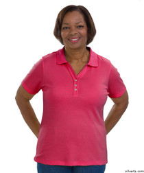 Silvert's 132100202 Short Sleeve Polo Style Tshirt, Size Medium, FUSCHIA