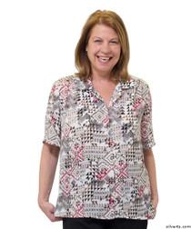 Silvert's 132500302 Womens Regular Short Sleeve Blouse , Size 12, WHEAT