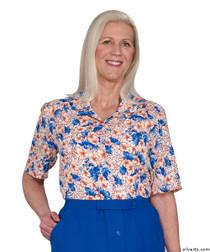 Silvert's 132500203 Womens Regular Short Sleeve Blouse , Size 14, SEA CORAL