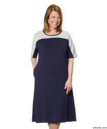 Silvert's 200600202 Ladies Casual Adaptive Back Snap Dress , Size Medium, NAVY