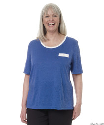 Silvert's 236600301 Womens Adaptive Crew Neck Tshirt , Size Small, COBALT