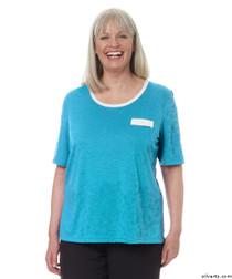 Silvert's 236600203 Womens Adaptive Crew Neck Tshirt , Size Large, TURQUOISE