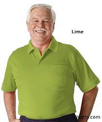 Silvert's 504300102 Mens Regular Knit Polo Shirt, Short Sleeve, Size Medium, LIME