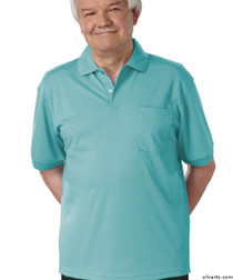Silvert's 504300203 Mens Regular Knit Polo Shirt, Short Sleeve, Size Large, POWDER