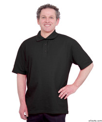 Silvert's 504300403 Mens Regular Knit Polo Shirt, Short Sleeve, Size Large, BLACK