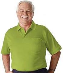 Silvert's 504300103 Men's Regular Knit Polo Shirt, Short Sleeve, Size Large, LIME