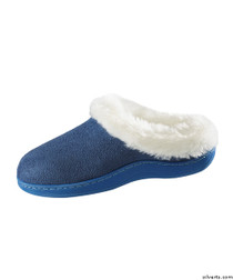 Silvert's 100500203 Womens Narrow Slip On Fur Slip Resistant Slippers , Size Large, NAVY