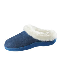 Silvert's 100500204 Womens Narrow Slip On Fur Slip Resistant Slippers , Size X-Large, NAVY