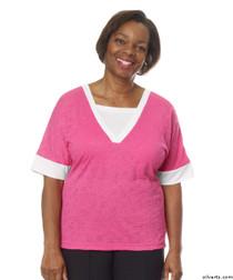 Silvert's 236400102 Womens Adaptive V Neck Tshirt , Size Medium, RASPBERRY
