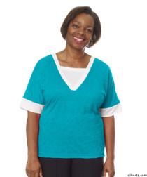 Silvert's 236400202 Womens Adaptive V Neck Tshirt , Size Medium, TURQUOISE