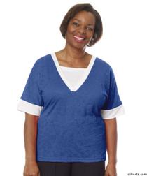 Silvert's 236400303 Womens Adaptive V Neck Tshirt , Size Large, COBALT