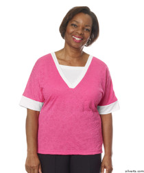 Silvert's 236410101 Womens Adaptive V Neck Tshirt , Size 2X-Large, RASPBERRY