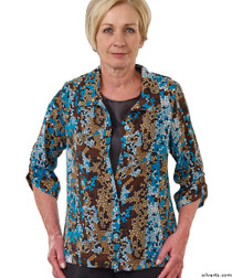 Silvert's 242300403 Womens Adaptive Open Back Fooler Blouse , Size Large, TEAL MOSAIC
