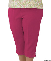 Silvert's 233400203 Womens Adaptive Capri Pants , Size Large, ORCHID