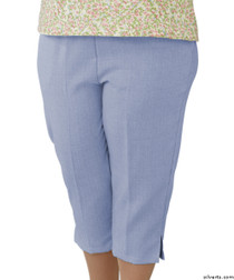 Silvert's 233400103 Womens Adaptive Capri Pants , Size Large, CHAMBRAY