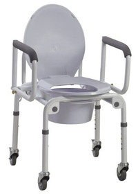 Drive 11101W-2 Steel Drop-Arm Commode with Wheels & Padded Armrest