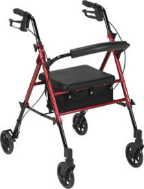 """Drive Medical RTL10261RD Adjustable Height Rollator with 6"""" Wheels, Red"""