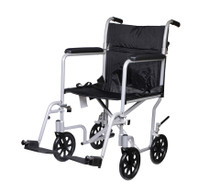 "Drive FW17SL Flyweight Lightweight Folding Transport Wheelchair, 17"", Silver Frame, Black Upholstery (FW17SL)"