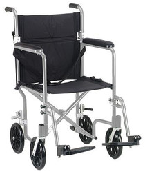 "Drive Medical FW19SL Flyweight Lightweight Folding Transport Wheelchair, 19"", Silver Frame, Black Upholstery"