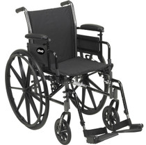 """Drive K318DFA-ELR Cruiser III Light Weight Wheelchair with Flip Back Removable Arms, Full Arms, Elevating Leg Rests, 18"""" Seat (K318DFA-ELR)"""
