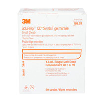 3M-10202 SOLUPREP 0.5% CHG, 70% ISO ALCOHOL CLEAR SOLUTION SWABSTICKS BX/50