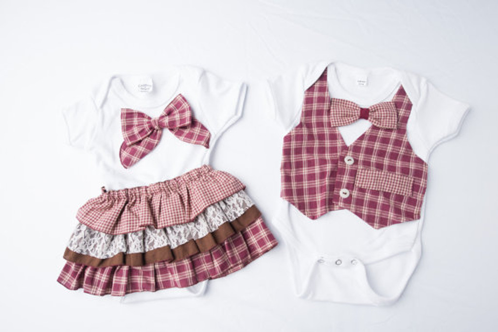 Fall Matching Twin Outfit in Red and White