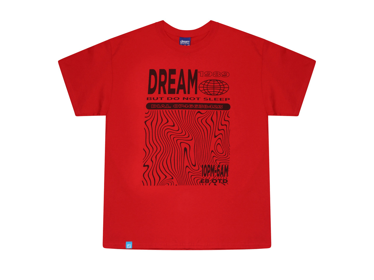Red Short Sleeved T-shirt With Dream Globe Graphic
