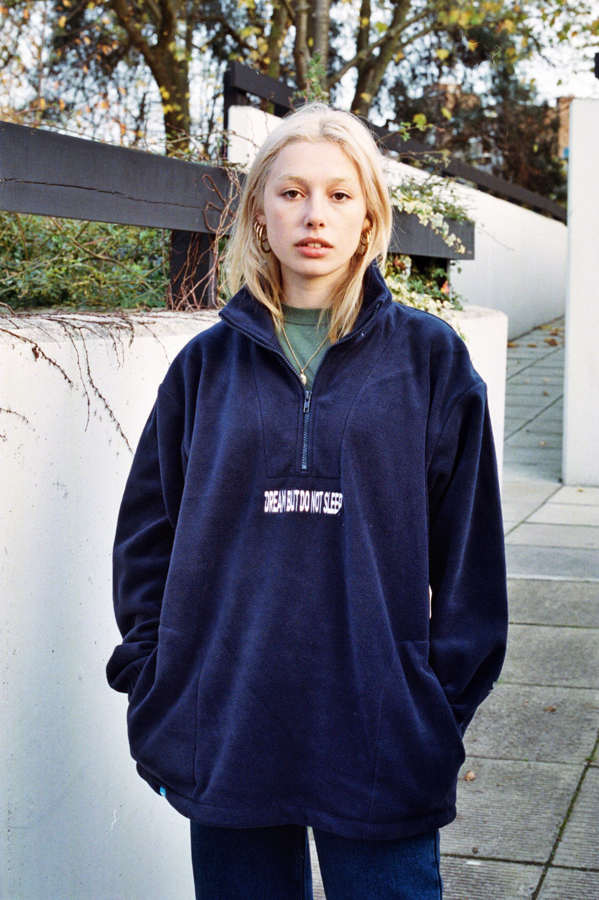 Navy Blue Fleece With Dream But Do Not Sleep Embroidered Design