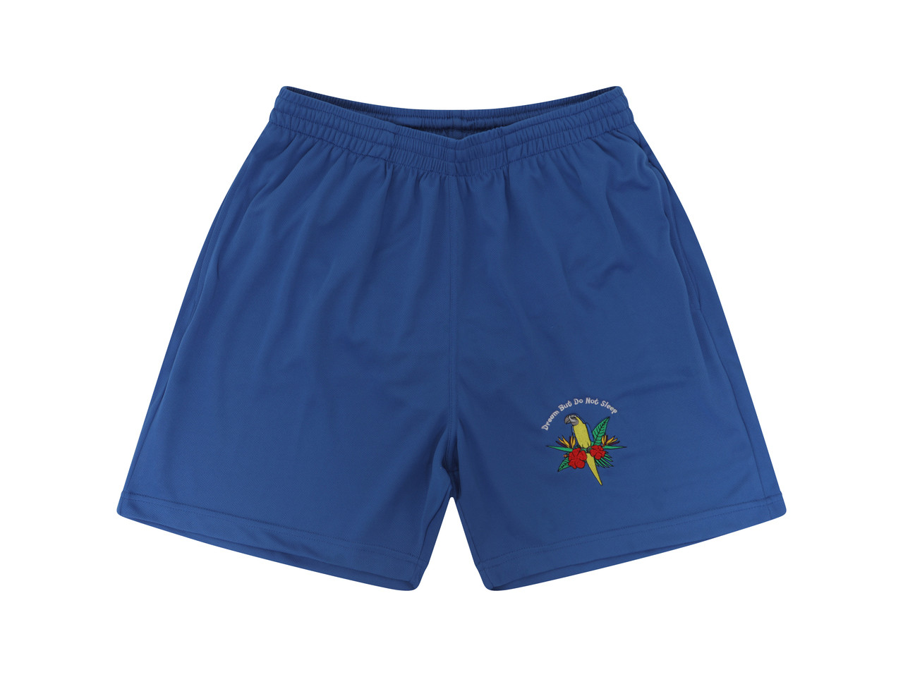 Royal Blue Shorts With Paradise Island Parrot Embroidery