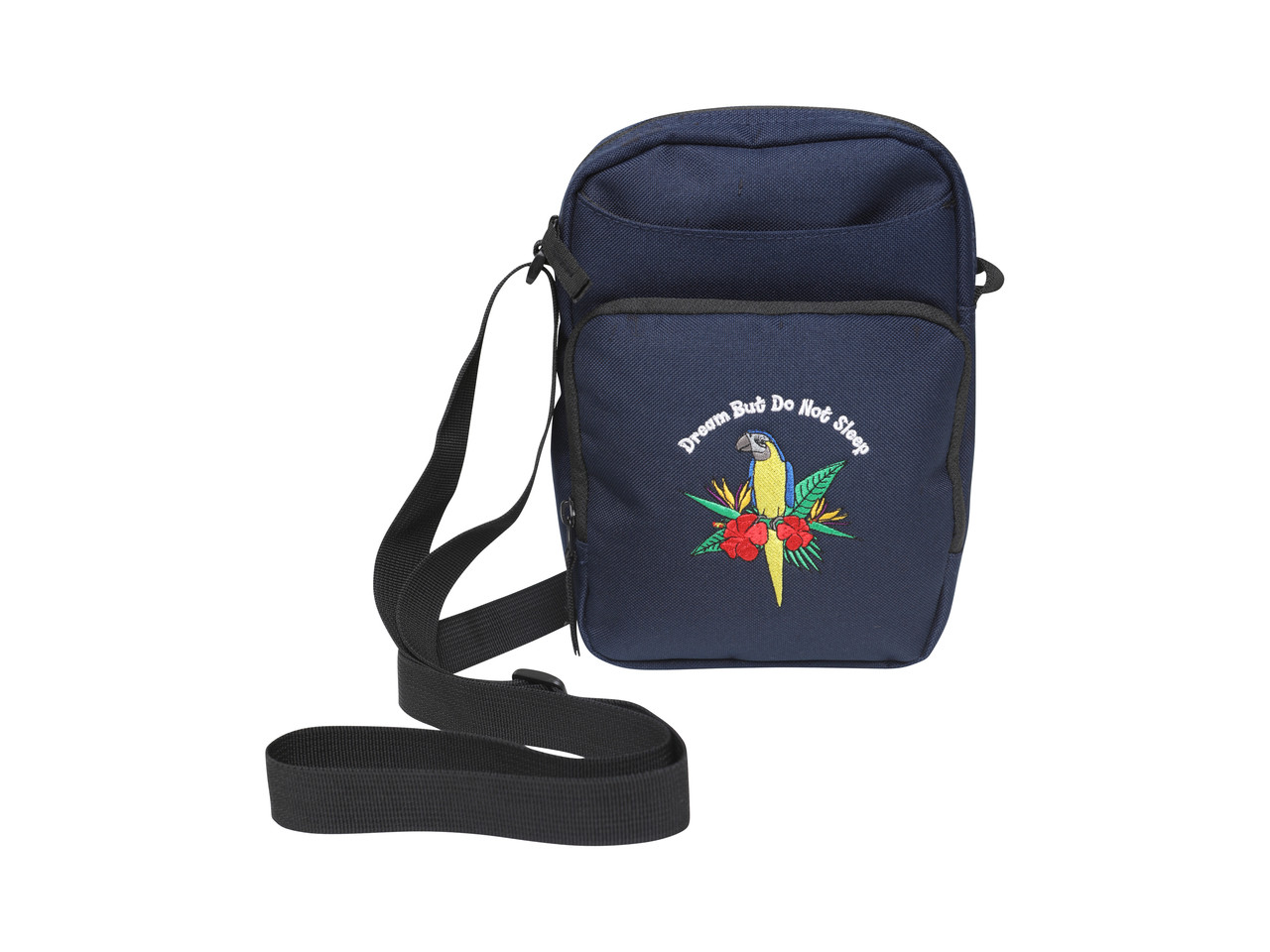 Navy Blue Cross Body Bag With Paradise Island Parrot Embroidery