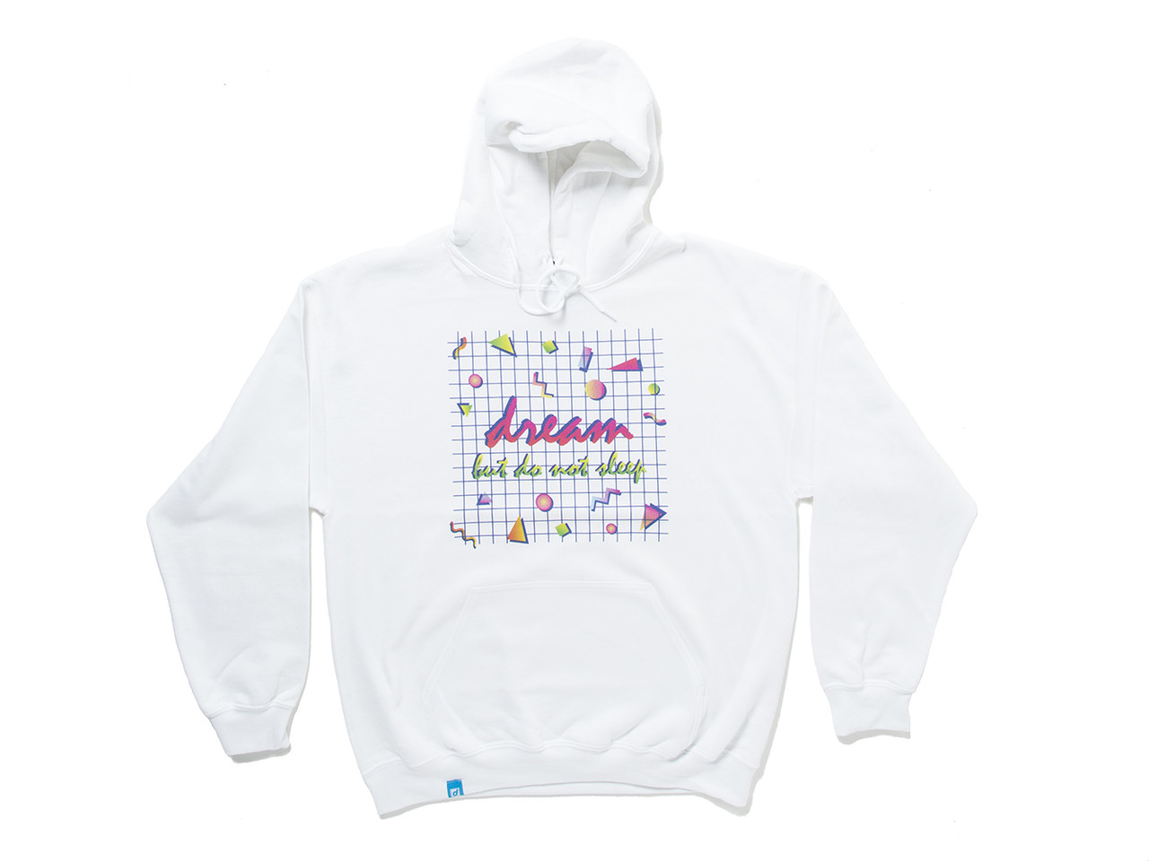 90s Grid Design Printed On A White Cotton Hoodie