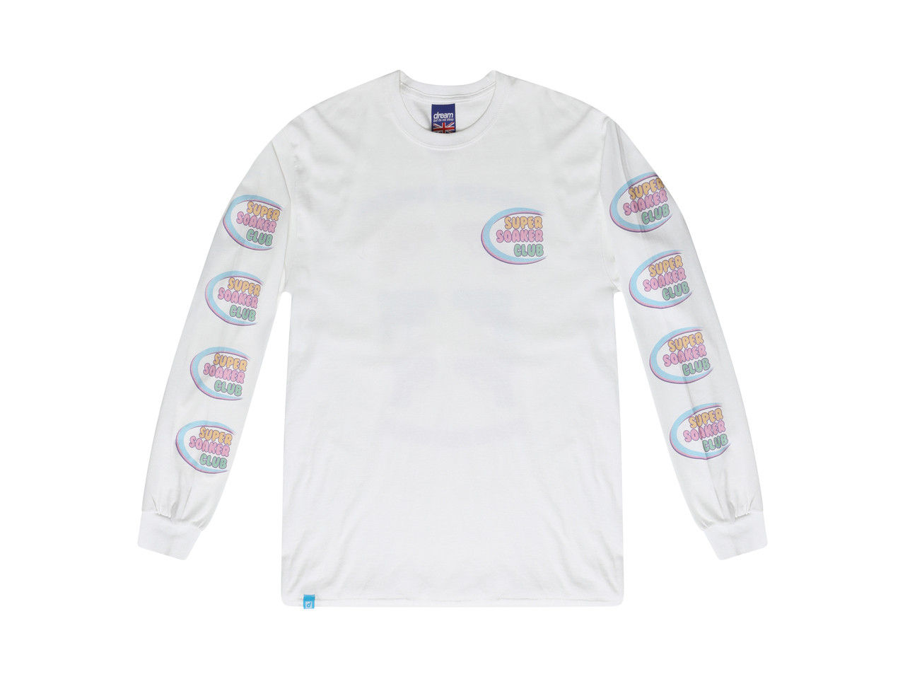 White Long Sleeved T-shirt Super Soaker Print
