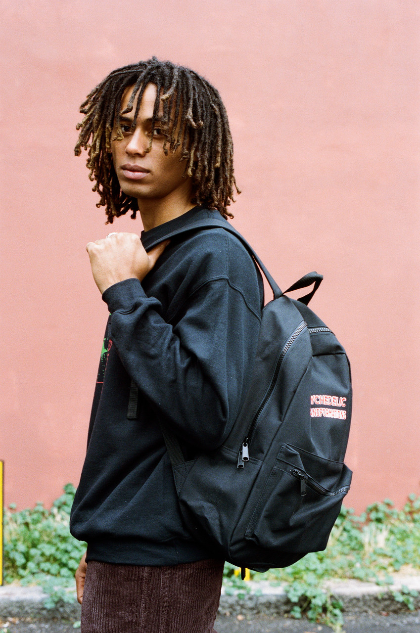 Black Backpack With Psychedelic Transformations Embroidery
