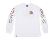 Colourful 90s Gradient Design On White Long Sleeved T-shirt