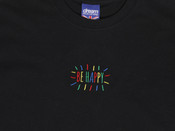 Black T-shirt With Be Happy Embroidered Design