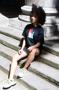 Black Short Sleeved T-shirt With Multi-Coloured Photo Light Leak 2 Print