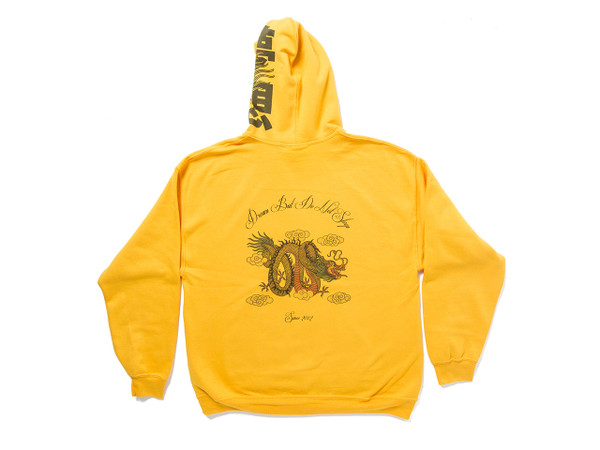 Chinese Dragon Design On Gold Hoodie