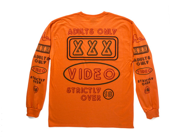 Adults Only' Design On Orange Long Sleeved T-shirt