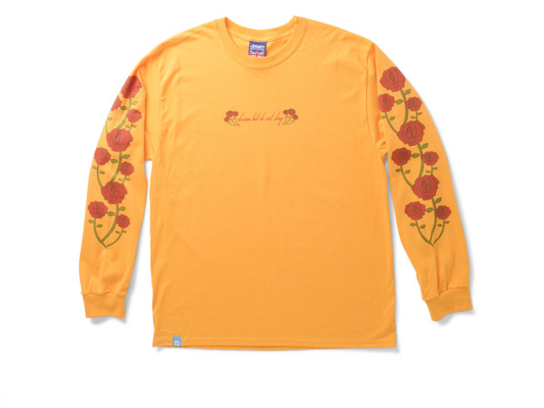 Summer Rose Design On Gold Long Sleeved T-shirt