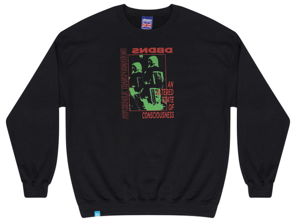 Black Sweatshirt With Psychedelic Transformations Print