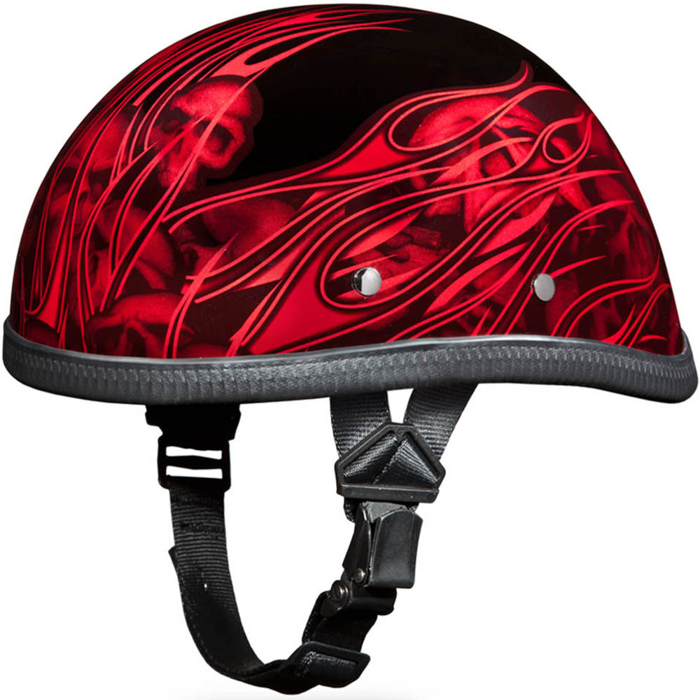 Red Flames with Skulls - Eagle Novelty Helmets by Daytona XS S M L XL 2XL