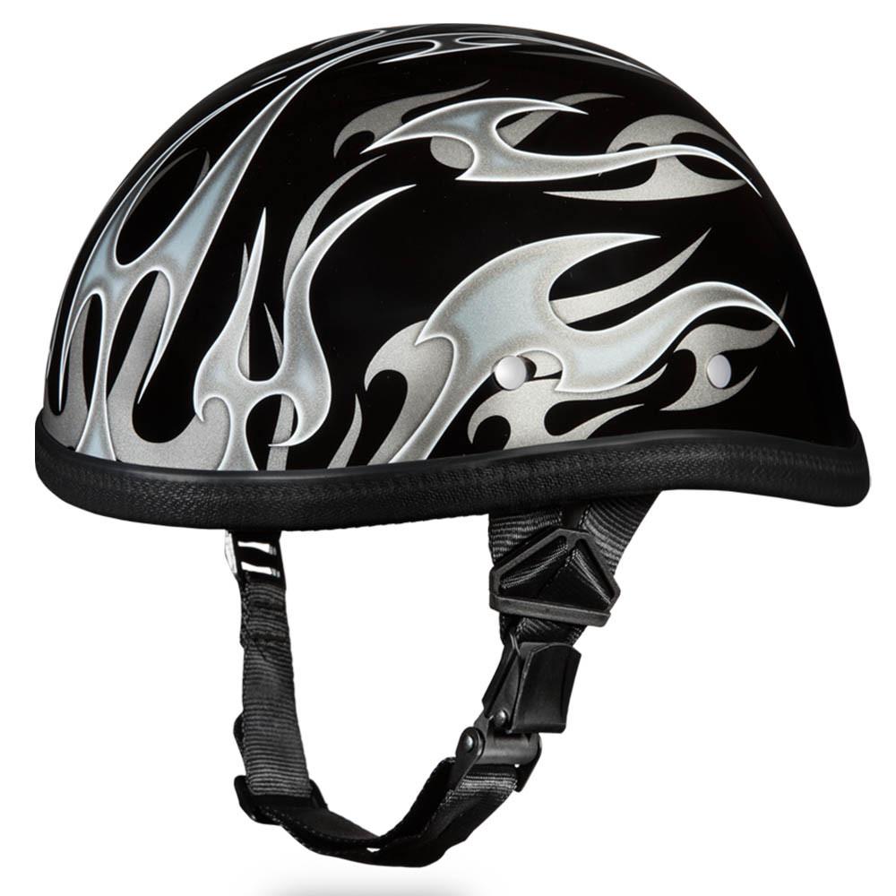 Novelty Helmet - Flames Silver by Daytona - 6002FS