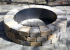 Steel Fire Pit Insert:  A shown above ground with surrounding fire pit pavers.