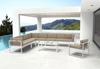 Golden Beach Corner Sectional: As shown complete sectional in brilliant white low profile galvanized aluminum frame with tuape cushions. (front view)